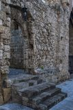 Streets of the Knights in the old town of Rhodes. Greece stock photography