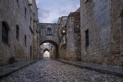 streets of the Knights in the old town of  Rhodes Stock Photos