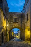 Streets of the Knights in the old town of Rhodes. Greece stock images