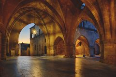 Streets of the Knights in the old town of Rhodes. Greece stock photo