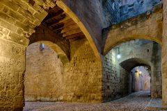 Streets of the Knights in the old town of Rhodes. Greece royalty free stock image