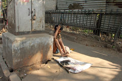 Streets of Kolkata. Beggars Royalty Free Stock Photo