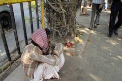 Streets of Kolkata. Beggars Royalty Free Stock Images