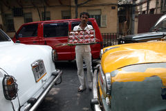 Streets of Kolkata. Street vendors selling strawberries Royalty Free Stock Image