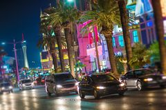 Streets of Las Vegas Nevada. Night Time on the Vegas Strip. City Traffic stock photography