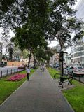 Streets of Lima. Walkway down center of major road in Lima, Peru Royalty Free Stock Image
