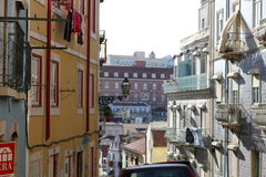 Streets of Lisbon - Portugal. Typical street of Lisbon - Portugal Royalty Free Stock Photos