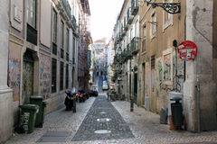 On the streets of Lisbon. Residential neighborhoods do not provide tourism Lisbon stock photo