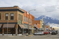 Streets of Livingston, Montana. LIVINGSTON, MONTANA, January 25, 2017 : Downtown Livingston. Originally called called Clark City after Heman Clark, principal stock photo