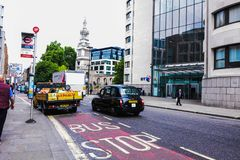 Streets of London black cab. Streets of London, black cab, taxi royalty free stock images