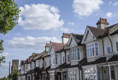 Streets of London, the houses. This image shows one of the streets of London with a focus on a wall of houses Stock Photography