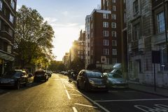 Streets of London at sunset near Hyde park Royalty Free Stock Photos