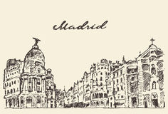 Streets Madrid Spain illustration hand drawn Royalty Free Stock Images