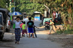 In the streets of Mandaley in Myanmar Stock Images