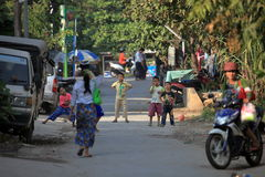 In the streets of Mandaley in Myanmar Royalty Free Stock Image