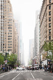 Streets of Manhattan on a foggy day Stock Photos