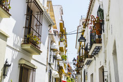 Streets of Marbella in Spain with flowers and plants on the faca Stock Photos