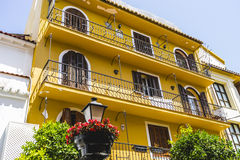 Streets of Marbella in Spain with flowers and plants on the faca Royalty Free Stock Photography