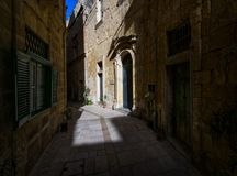 The streets of Mdina. Malta. Walking through the streets of the ancient city of Mdina. Old Malta Stock Photo