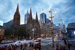 Streets in Melbourne after work hour Royalty Free Stock Image