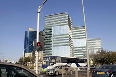 Streets and modern building in Tel Aviv, Israel. Royalty Free Stock Images