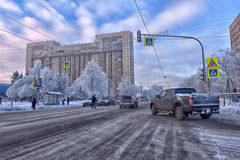 The streets of modern districts of St. Petersburg in winter Stock Photos