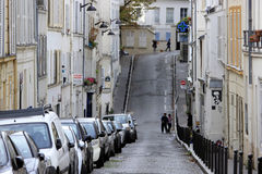 Streets of Montmartre, Paris. Paris, France - 8 October 2014.nOne of the streets on Montmartre. Typical view Royalty Free Stock Photo