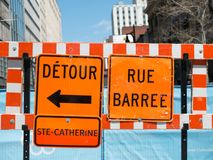 The Streets Of Montreal Are Clogged With Endless Roadwork. The Streets Of Montreal Are Clogged With Endless Roadwork royalty free stock photo