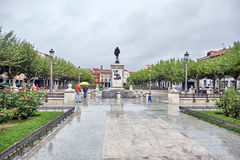 Streets, monuments and old buildings after the rain of the city Stock Image