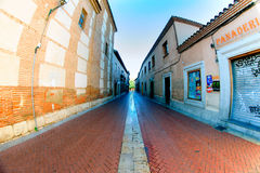 Streets, monuments and old buildings of the town of Alcala de He. Nares, Spain Royalty Free Stock Photo