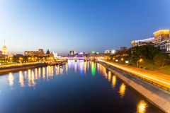 Streets of Moscow in the heart of the famous places of the city at night Royalty Free Stock Image