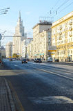 Streets of Moscow. Near metro Kursk Traffic Evening Stalin skyscraper Royalty Free Stock Image