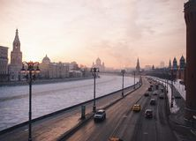 Streets of Moscow. Panoramic view Streets of Moscow River Early morning Stock Images