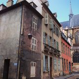 Streets of Moulins. Colourful streets of Moulins France Stock Photos