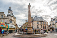 In the streets of Moulins. MOULINS, FRANCE - AUGUST 27,2014 - In the streets of Moulins. Moulins is located on the banks of the Allier River Stock Image