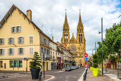 In the streets of Moulins. MOULINS, FRANCE - AUGUST 27,2014 - In the streets of Moulins. Moulins is located on the banks of the Allier River Stock Images