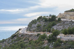 Streets on the mountain. Construction of streets in the mountainside royalty free stock photo