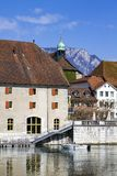 Streets and embankment of the Swiss city of Solothurn. The streets and mountains of the Swiss city of Solothurn on a beautiful summer day royalty free stock photos