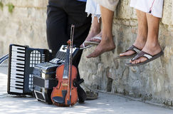 Streets Musicians. Streets Musics with them instruments stock photos