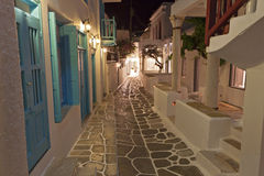Streets at Mykonos island in Greece stock image