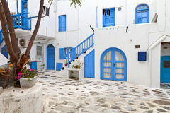 Streets at Mykonos island in Greece. Traditional streets and houses of Mykonos island in Greece Stock Photos