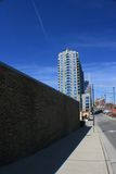The streets of Nashville. A sidewalk vertical view of Nashville, Tennessee skyline Stock Images