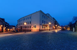 Streets near the Marii Panny square in Kielce, Poland, in the ev Royalty Free Stock Image
