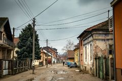 Streets of Negotin, small place in east Serbia. Center of old town. Beautiful cloudy day. royalty free stock image