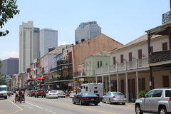 Streets of New Orleans. Louisiana, USA. The city is famous for its unique style, party as well as blues and jazz music. Typical small houses in th front royalty free stock photo