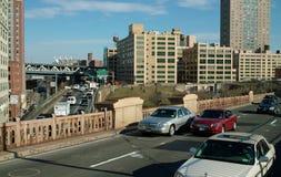 Streets of New York, Brooklyn Bridge entrance USA Royalty Free Stock Images