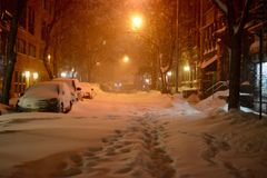 Streets of New York during snow blizzard Royalty Free Stock Image