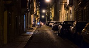 Streets of the old city of Valletta. Night. Malta. Streets and Night city lights of the old city of Valletta. Night. Malta Stock Photo