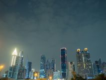 The streets of the night city and skyscrapers of Dubai. Timelapse. The streets of the night city and skyscrapers of Dubai. Timelapse stock photography