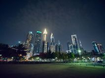 The streets of the night city and skyscrapers of Dubai. Timelapse. The streets of the night city and skyscrapers of Dubai. Timelapse stock image